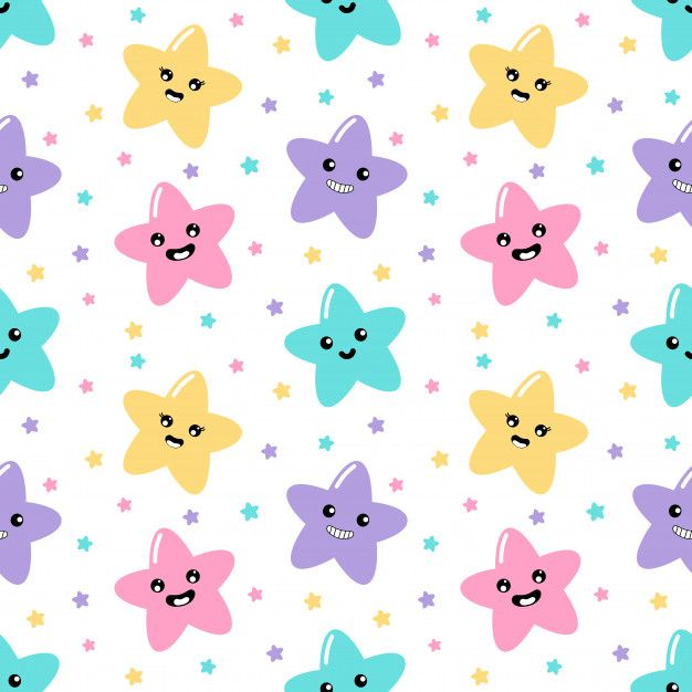 Kawaii Cute Stars Pastel With Funny Faces Cartoon Seamless Pattern On White Background For Kids Cute Wallpapers Baby Clip Art Cute Stars