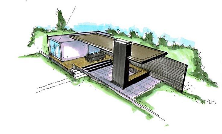 ontwerp overdekte zitplek tuin met zeecontainer van Gandia Blasco als basis ( via dick beijer)