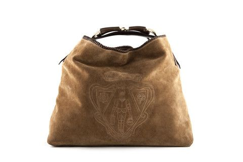 Gucci Crest Embossed Suede Handbag 650 (With images