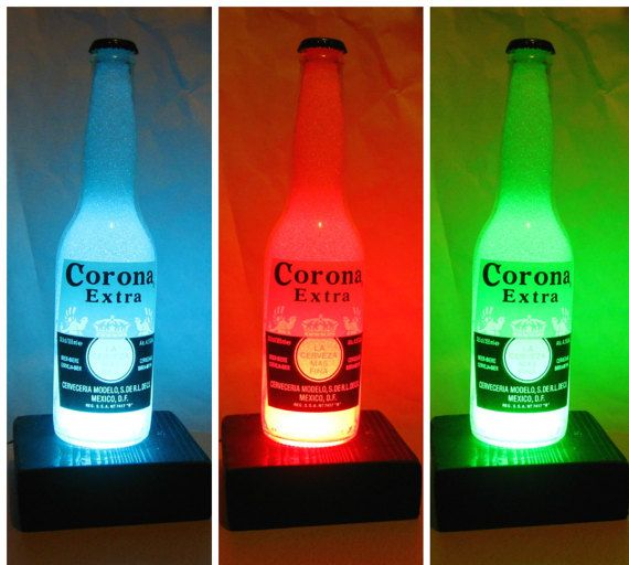 Corona  bottle light diamond effect LED remote control by GlassEco