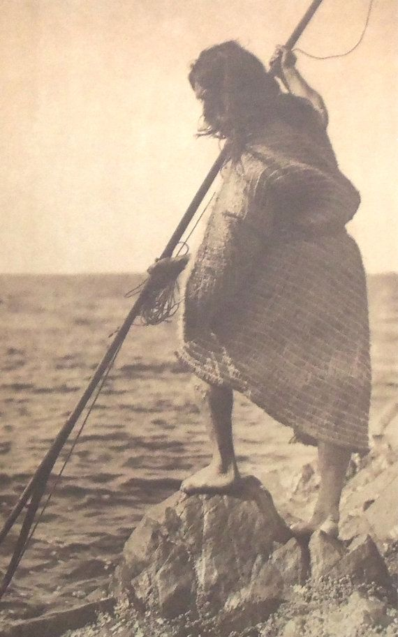 Nootka Man With Spear by Edward S. Curtis, Native American ...