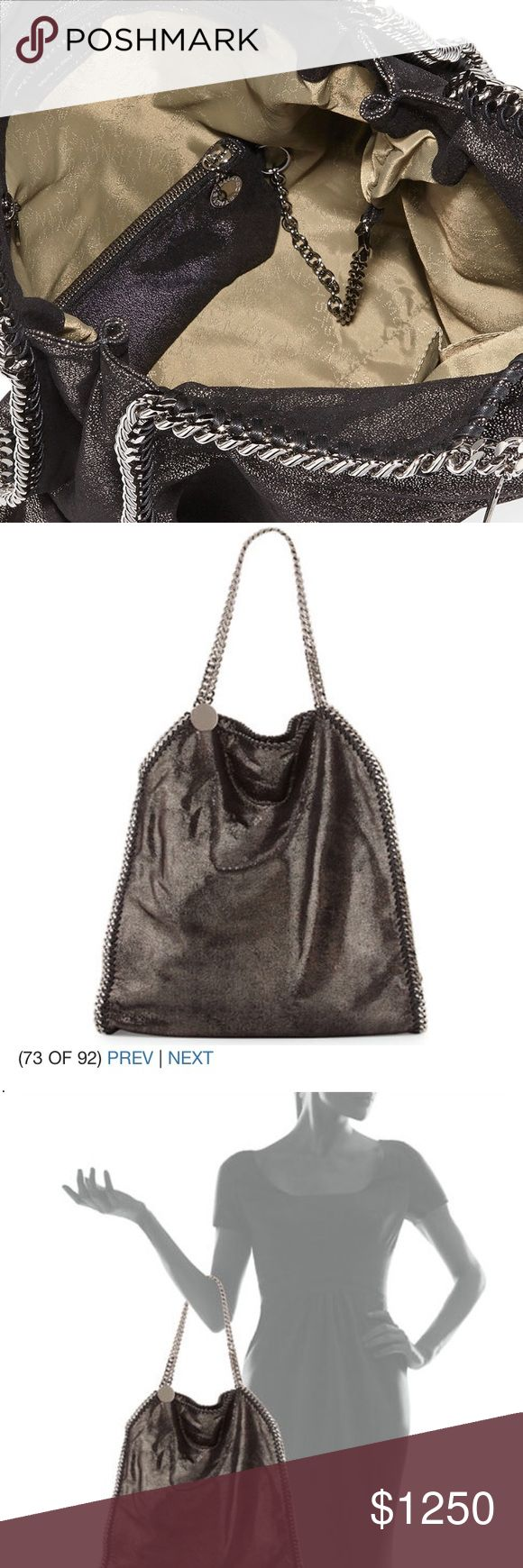 Stella McCartney Falabella Tote in Ruthenium. This is the large Stella McCartney Falabella handbag. It's stunning and even comes with a mini matching wallet inside! Stella McCartney Bags Shoulder Bags