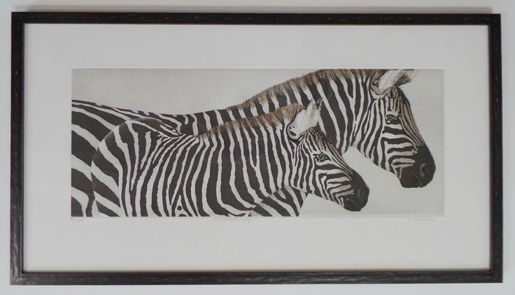 """""""On Faithful Hoofs"""" by Nancy Charles;  An original handcolored etching in an edition of 350.  Image measures 23.5"""" x 9.5"""" and paper measures 29.52"""" x 16"""". Represented by Island Arts International and available for purchase at Rose City Framemakers. $ 280."""