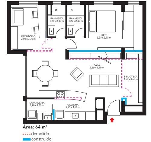 ÁREA SOCIAL AMPLIADA Cláudia e Taís dispensaram a construção das paredes entre a cozinha e a sala, entre a sala e o segundo quarto e ainda recusaram a criação de uma espécie de armário na entrada do apartamento, área hoje ocupada pela biblioteca. A divisória entre a sala e a suíte foi deslocada 50 cm para dentro do dormitório, abrindo espaço para a estante da TV.
