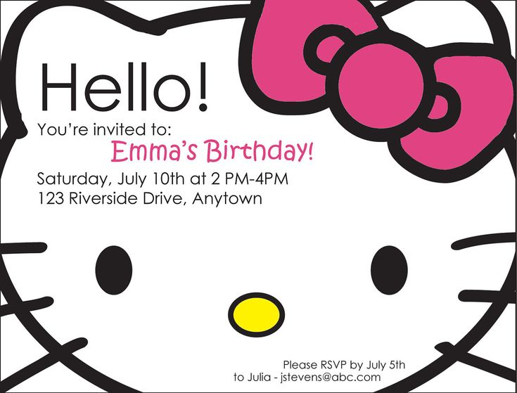 Hello Kitty Birthday Invites @Jenn L Minder For Cami's birthday