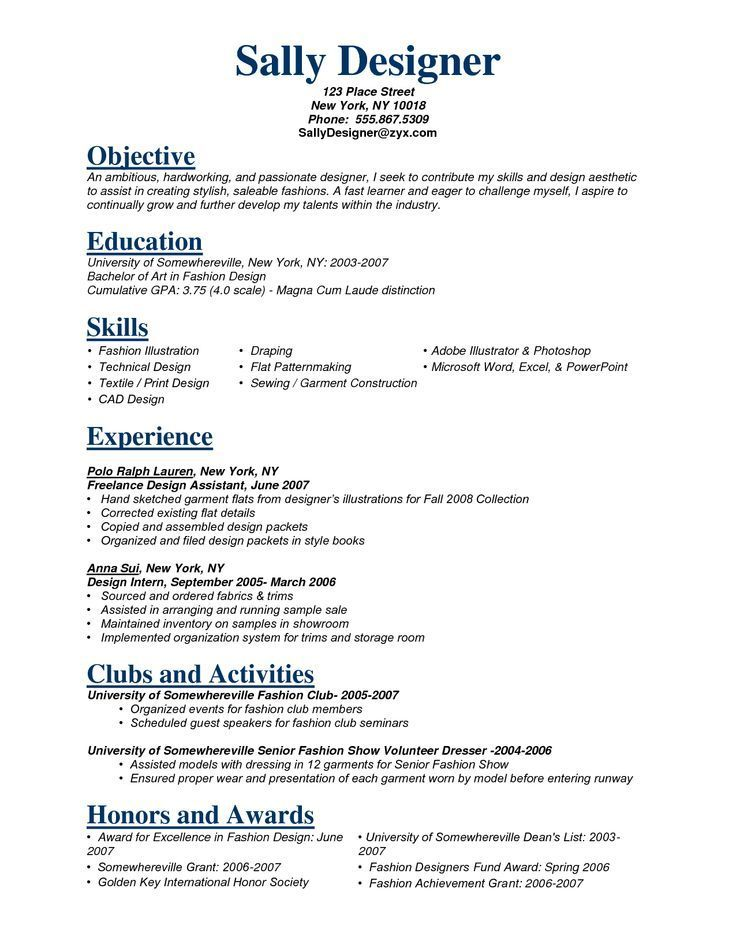 Dress style examples for resume