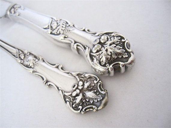 Hollow handle knife, flat handle Fork, Charter Oak