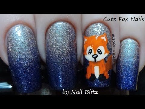 Cute Fox Gradient DIY Nail Art Tutorial - YouTube