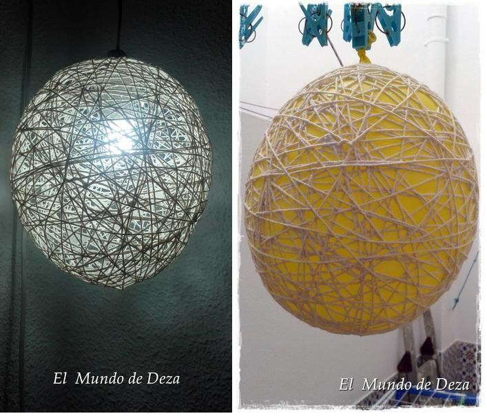Cuerda, globos, cola blanca... ¡y ya tenemos nuestra lámpara!