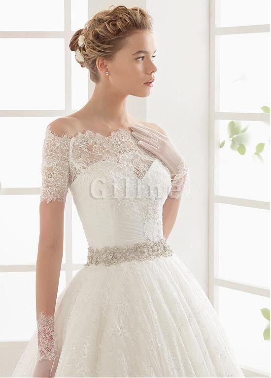 Vintage natürliche Taile Charmant Abnehmbar Brautkleid mit Sweep zug