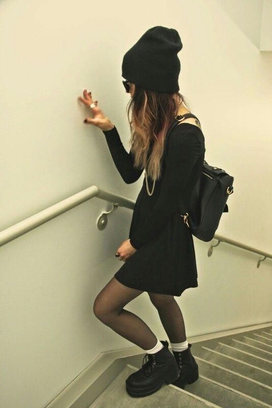 Black Long Sleeve Dress(LONGER) X Black Beanie x Black Boots x White Socks x Black Tights X Black Backpack x Dark Sunglasses