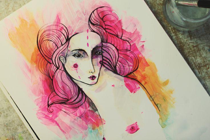 Paní zblúdilá Na svitaní za rána vo vlasoch pár odleskov taká je . krásna pani zblúdilá . rosa Lu.kresbo-maľba,formát A4, hladký grafický papier 230g.