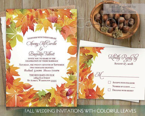 Diy Autumn Wedding Invitations: Fall Wedding Invitations Leaves, DIY Printable Fall Leaves