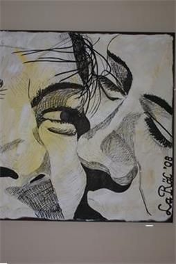 Liefdevol portret schets acrylverf stift afmeting 100 x 100 cm