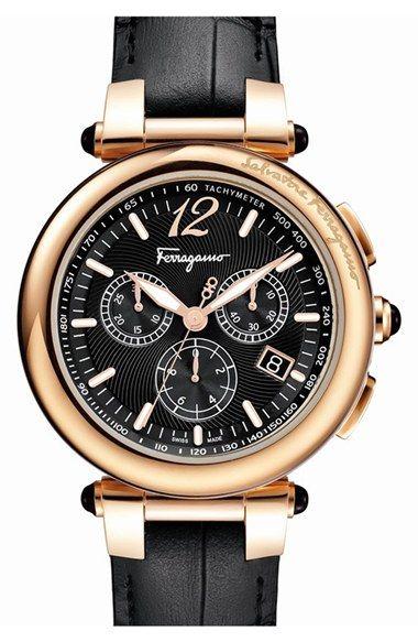 Salvatore Ferragamo 'Idillio' Chronograph Calfskin Leather Strap Watch, 41mm available at #Nordstrom