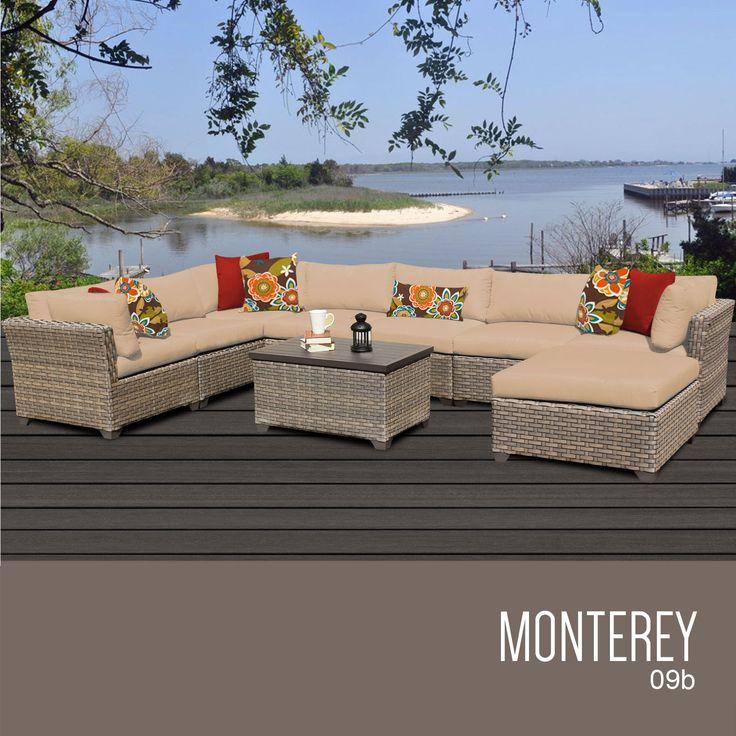 TKC Monterey 9 Piece Outdoor Wicker Furniture Conversation Set 09b, Wheat Part 50