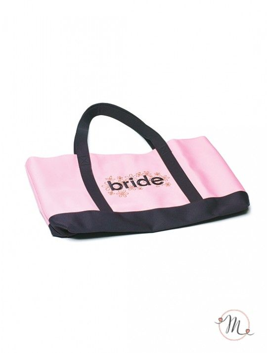 Bride bag. Originale borsa per la sposa in poliestere con i colori rosa e marrone con la scritta BRIDE centrale. Misure: 55 x 33 x 34 cm. La borsa è personalizzabile.  In #promozione #matrimonio #weddingday #wedding #ricevimento #fun #party #festa #addioalcelibato #addioalnubilato #boho #bohochic #damigelle #despedidadesoltera #bacheloretteparty #bachelorette #bridebag
