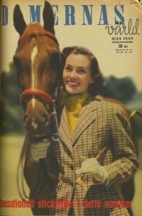 Damernas Värld, fashion, fashion magazine, horse, 40's, retro, tweed.   More vintage fashion: http://damernasvarld.se/arkivet/
