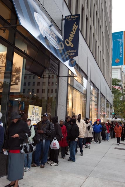 Waiting in line for Garrett's Gourmet Popcorn