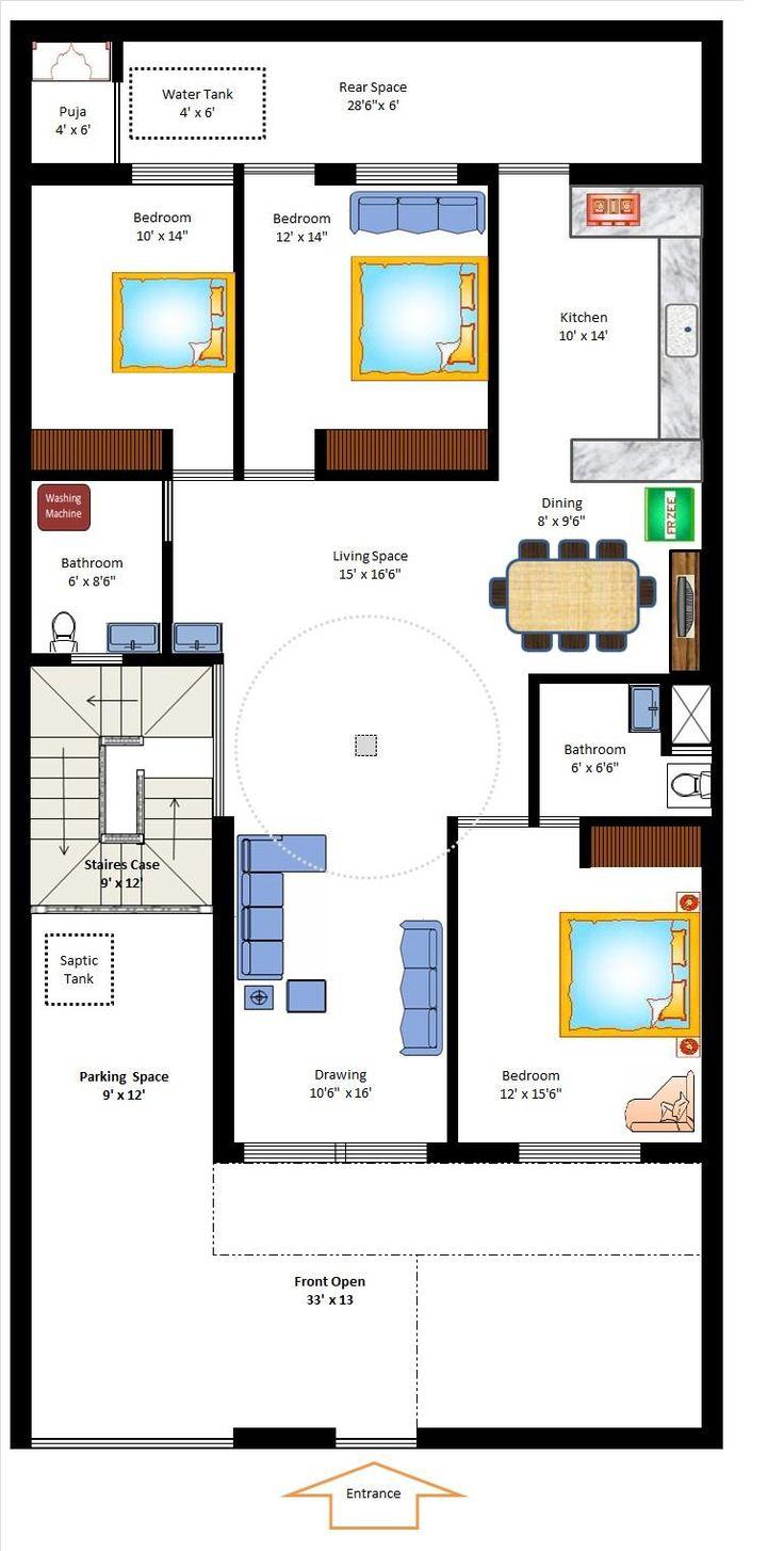 35 x 70 West Facing Home Plan | Floor Plans | Pinterest ...