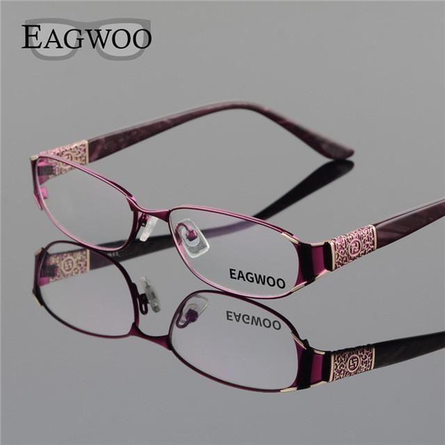 EAGWOO Women Elegant Designed Eyeglasses Full Rim Optical Frame New Prescription Spectacle Plain Eye Glasses Plain Vision D9068