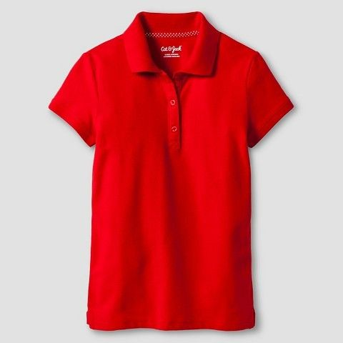 Cat & Jack Girls' Pique Stain Resist Polo Shirt Red XS