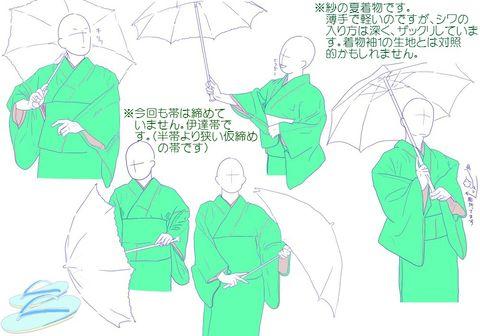 「【ポーズ/和服3】着物袖」/「みずのえ」の漫画 [pixiv]