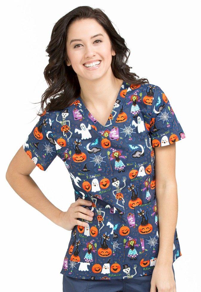 Peaches Anna Boo Bash print scrub top. Main Image