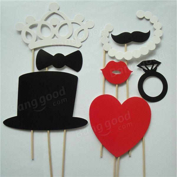 8pcs cabine de fotos diy adereços da festa de aniversário do casamento da foto adereços máscaras bigode
