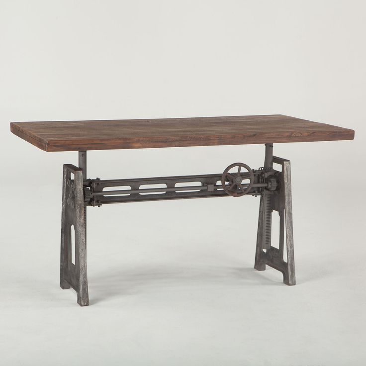 French Industrial Loft Metal and Wood Crank Adjustable Table  (https://www.zinhome.com/french-industrial-loft-metal-and-wood-crank-adjustable-table/)