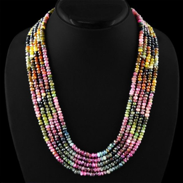 Genuine 520.20 Cts Watermelon Tourmaline 4 Line Gemstone Beads Necklace  tourmailne beads, gemstone necklace