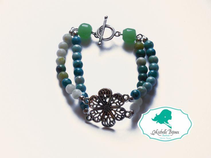 Bratara in nuante de verde - turcoaz Pietre semipretioase: jade Accesoriu metal: floare