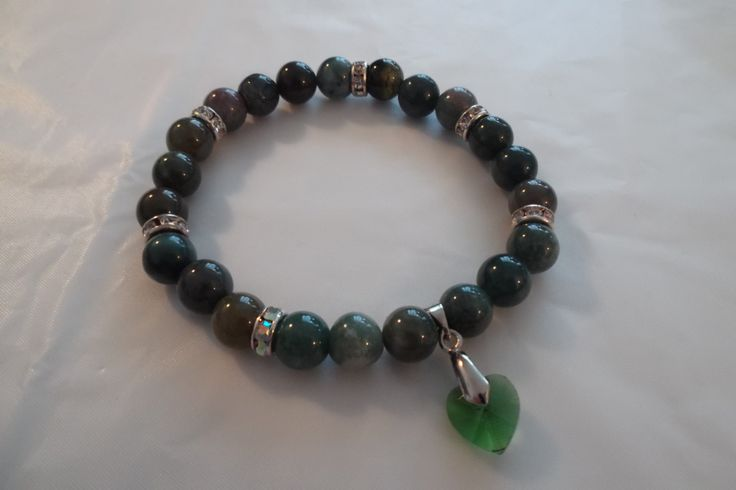 Lovely Green Agate Gemstone & Crystal Heart Bracelet For Her,Stretch Bracelet by HealingAuras on Etsy