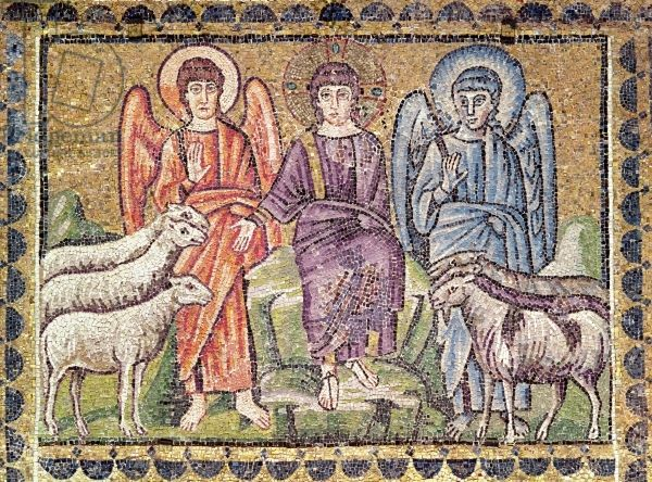 The Parable of the Good Shepherd Separating the Sheep from the Goats, Scenes from the Life of Christ (mosaic). Byzantine School, (6th century). Sant'Apollinare Nuovo, Ravenna, Italy