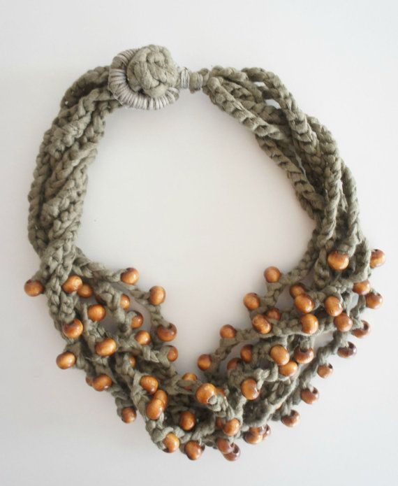Chunky Crocheted Statement Necklace in Light Khaki by Karakoncolos, $15.00