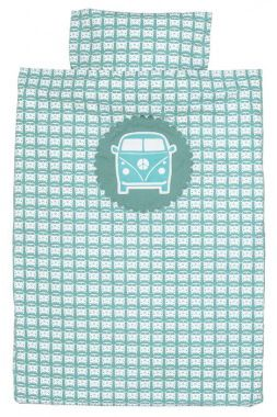 Gaaf blauw grijs dekbedovertrek met leuk retro design en vilten VW busje