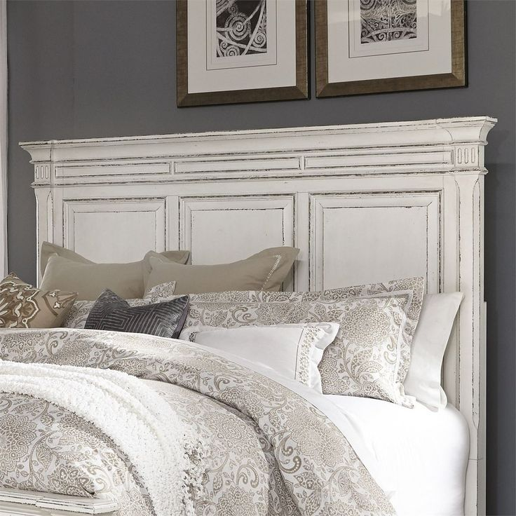 Abbey Park Antique White King Panel Bed (With images