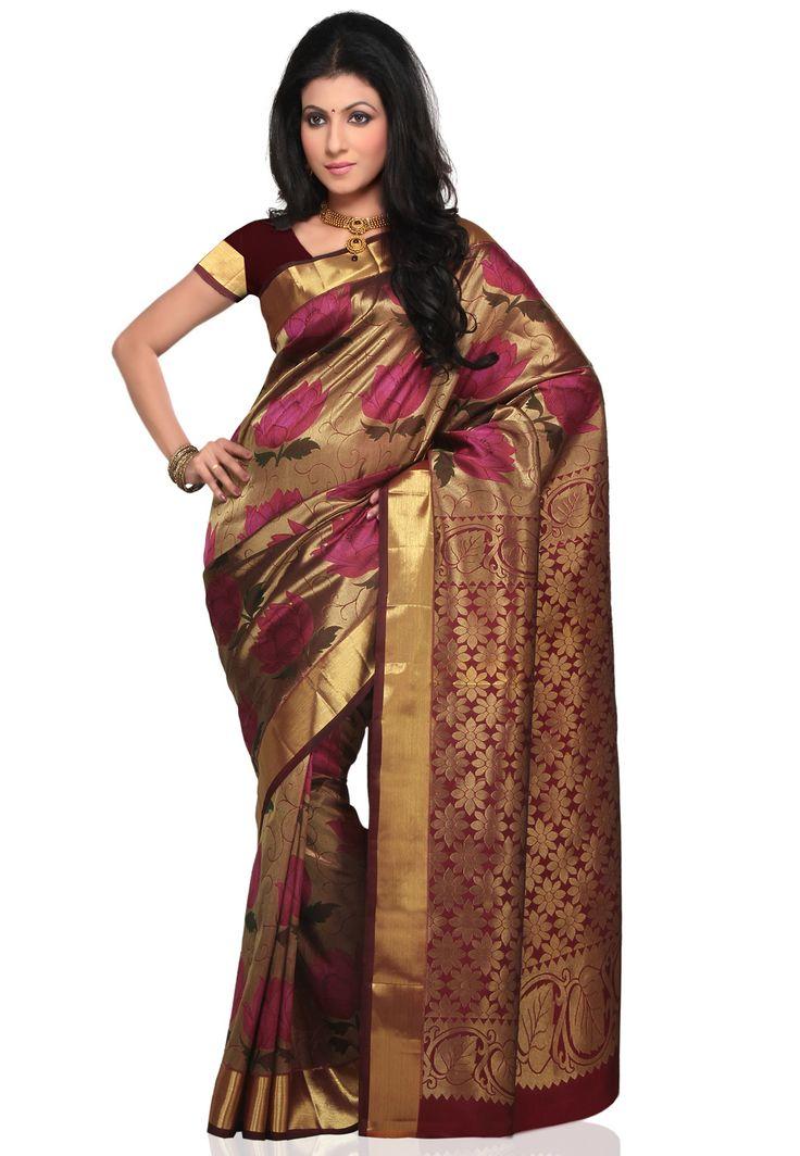 Beige Pure Kanchipuram Silk #Saree With Blouse | Wedding ...