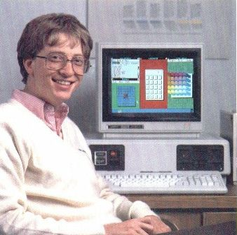 """Bill Gates (he is slightly older now -- 57). Gates co-founded """"Micro-Soft"""" with Paul Allen in 1975. Microsoft got its start by creating a BASIC interpreter for the Altair computer. It then formed a partnership with IBM to provide the PC-DOS operating system in 1980. In 1985, Microsoft Windows was first released to the retail public, and the rest, as they say, is computing history."""