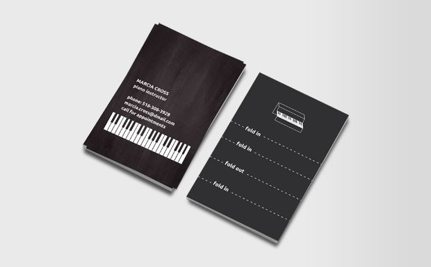 Clever, folding business cards, turns into a piano.