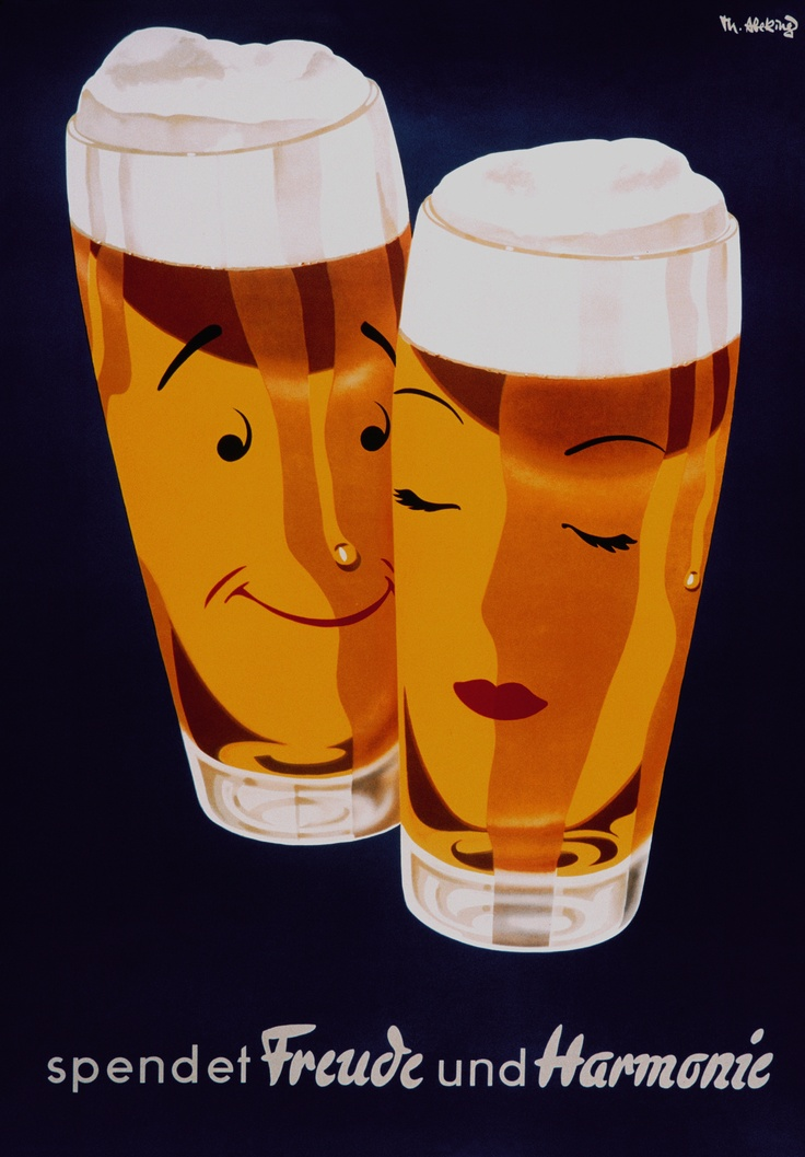 Ich liebe es! 'German beer poster 'Freude und Harmonie, sixties. From the archives of the DBB.'