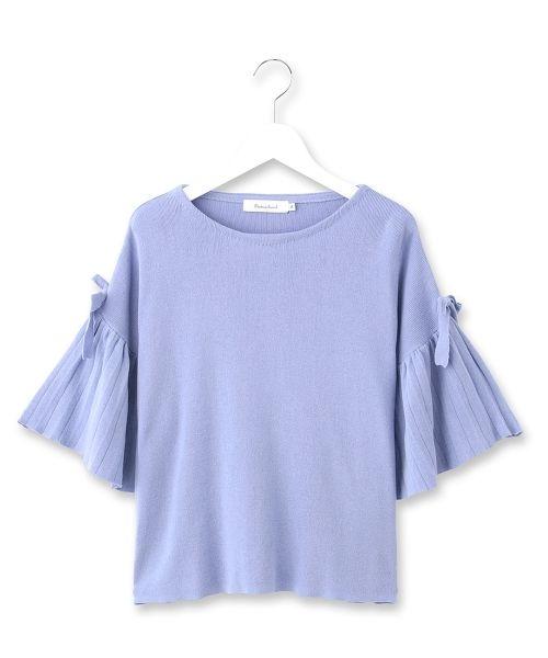Couture Brooch(クチュールブローチ) 袖リボンプリーツニットプルオーバー