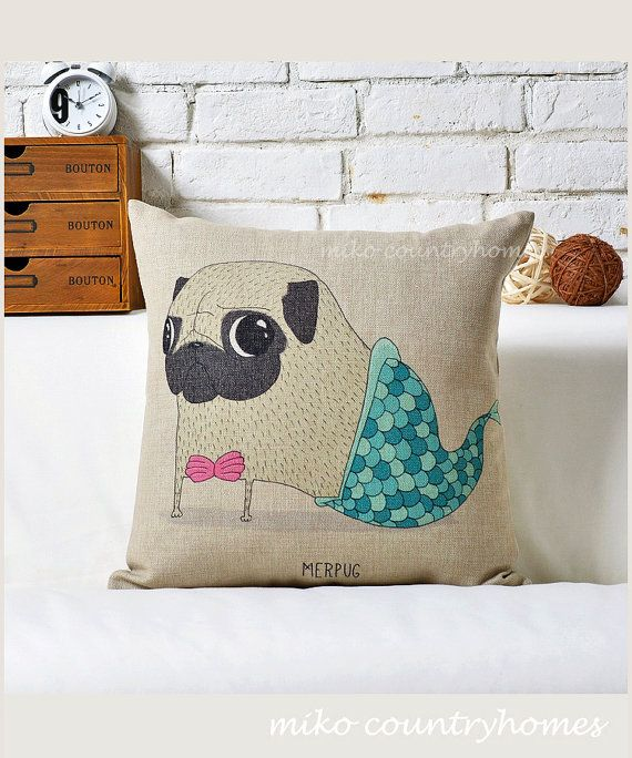Diy Large Throw Pillows : Pug Inspired Series Mermaid Pug Throw Pillow Cushion Cover Mall, Board and Etsy