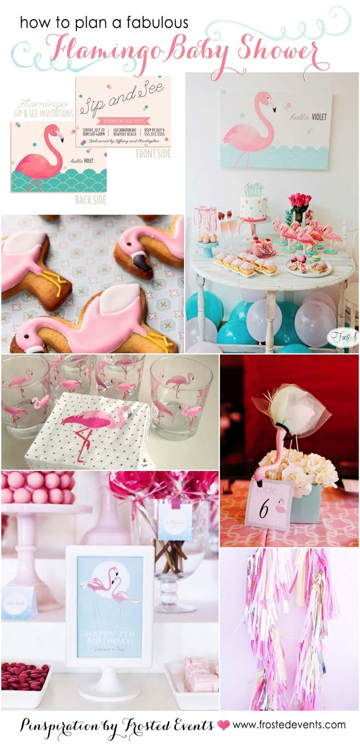 Love this fabulous flamingo theme baby shower inspiration board via Frosted Events @frostedevents Pink flamingo party, pink and mint, pink and gold ideas and inspiration, flamingo invitations for baby girl, flamingo decorations, flamingo dessert table, flamingo printables