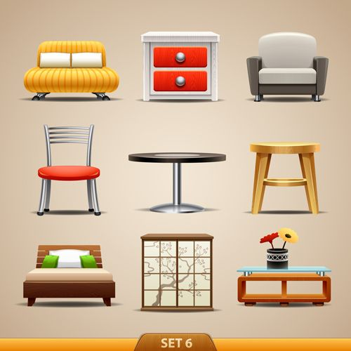 Furniture Icon | Shiny modern furniture icons vector 05 lds