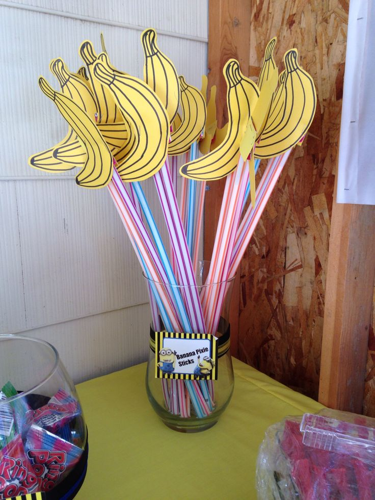 Banana pixie sticks for minion candy bar for minion birthday party