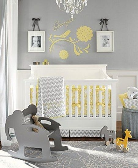 The yellow accent in this room is perfect for a little kid. The grey in contrast with the yellow creates a formal, yet fun place to play.