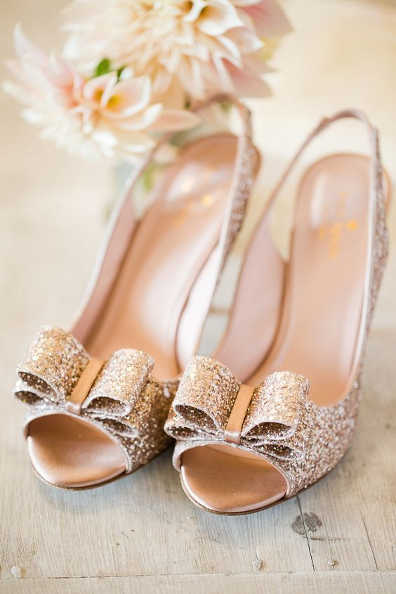 sparkle bow peep toe shoes