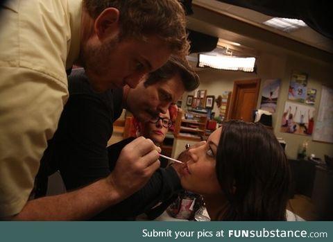 Chris Pratt and Nick Offerman doing Aubrey Plazas makeup