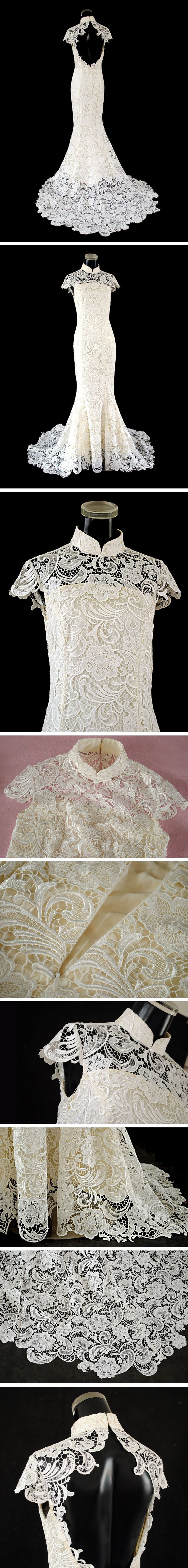 This is the best of both my worlds.  Beautiful Mandarin collar, white lace... gorgeous.     jaglady